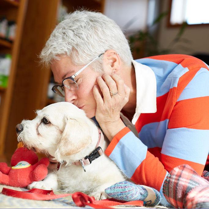 Female Sunvet client kisses the top of her senior dog's head