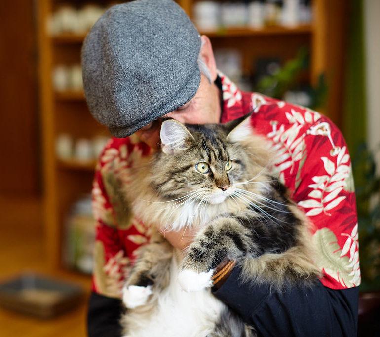 Sunvet client lovingly kisses his fluffy cat